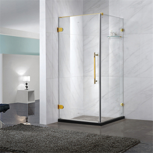 Square frameless pivot hinge swing open shower enclosures one side walk in shower