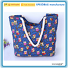 Blue beach bag full funny print tote owl bag