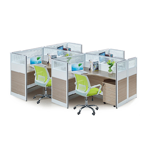 L Shape OFFICE PARTITIONS Screens /Mobile Pedestal/ 4 Person Employee Workstation Desk