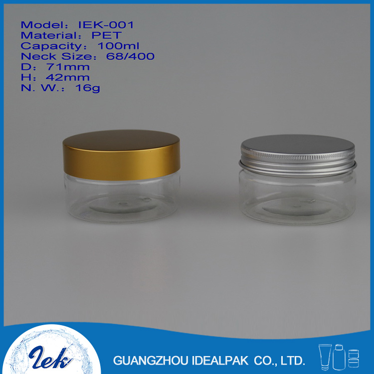 Aluminum cap 100ml PET plastic cosmetic packaging cream jar