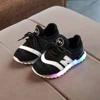 2018 New design cheap customize sport children sneakers led kids light shoes boys