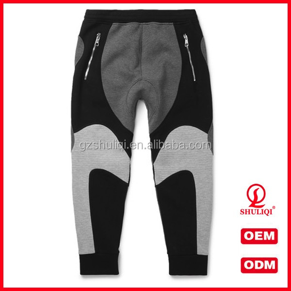 Good quality secure zipper back pockets mens harem sport sweat pants with side slant pockets