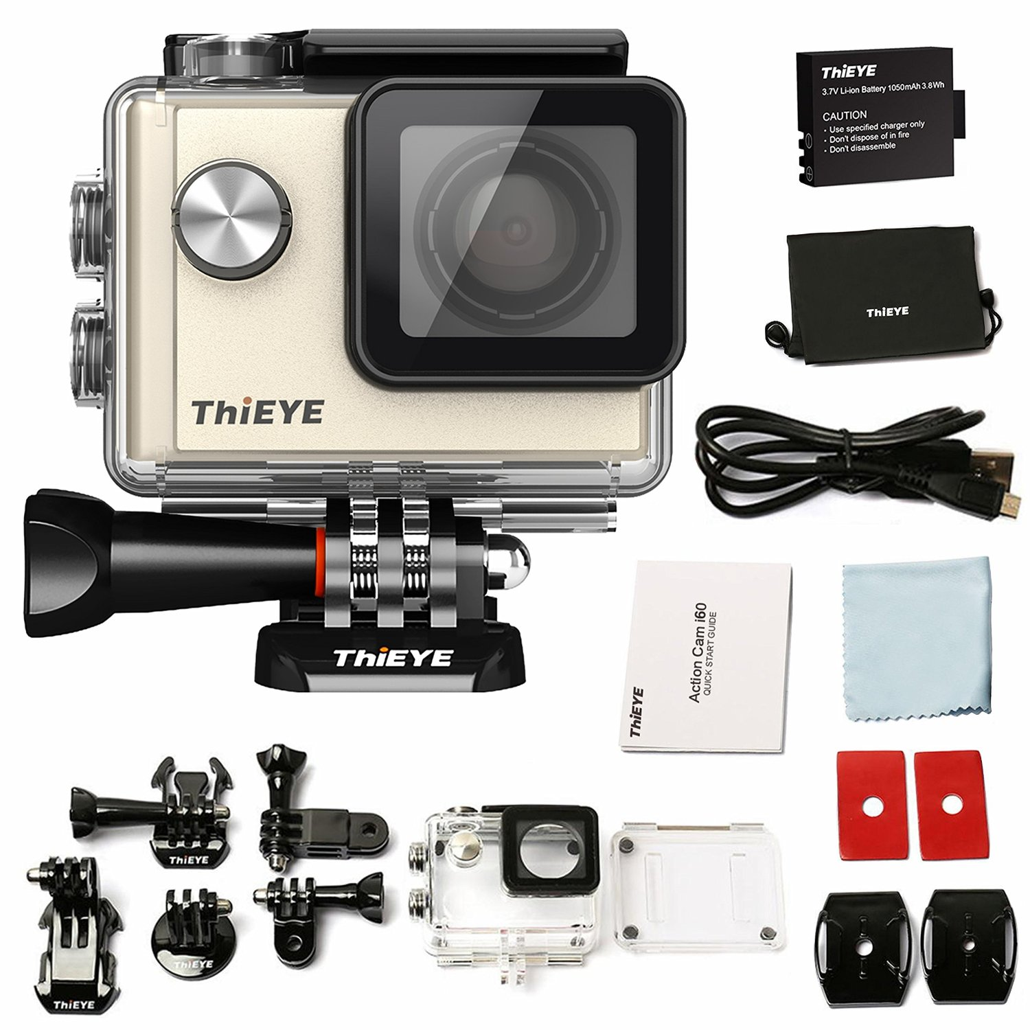 Action Camera ThiEYE i60+ 4k WiFi WaterproofUltra HD Sports Action cam, DV Camcorder,2 inch LCD Screen, 170 Degree Wide Angle Lens with Batteries(2-Pack) and Accessories Kit