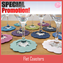 New style double layer felt red wine glass coaster