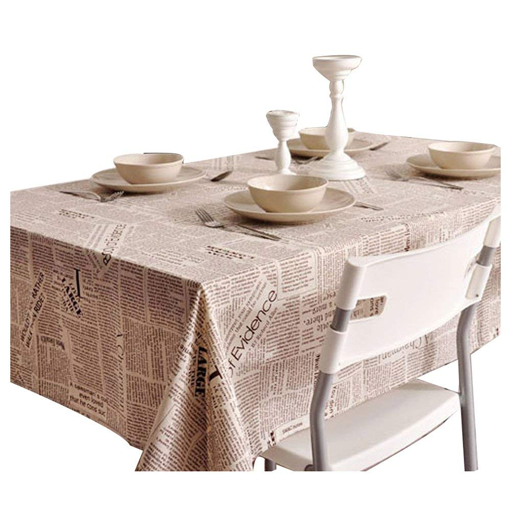 TOOGOO(R) Square Cotton Linen Fashion Newspaper Printed Washable Tablecloth Vintage Oblong Dinner Picnic Table Cloth Home Decoration Assorted Size