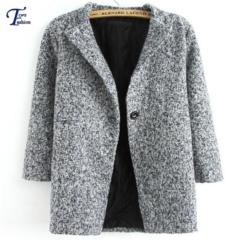 Шерсть и смеси зима пальто женщины в серый длинный рукав одна пуговица твидовые длинная пальто Outwears