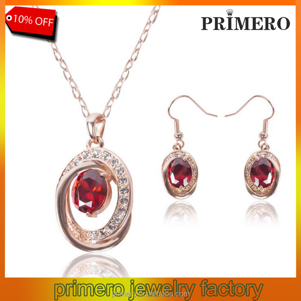 PRIMERO Hot Sale Jewelry Set,Imitation Natural Red Garnet Stone Ruby diamond Necklace Earring Set,18k rose gold Plated