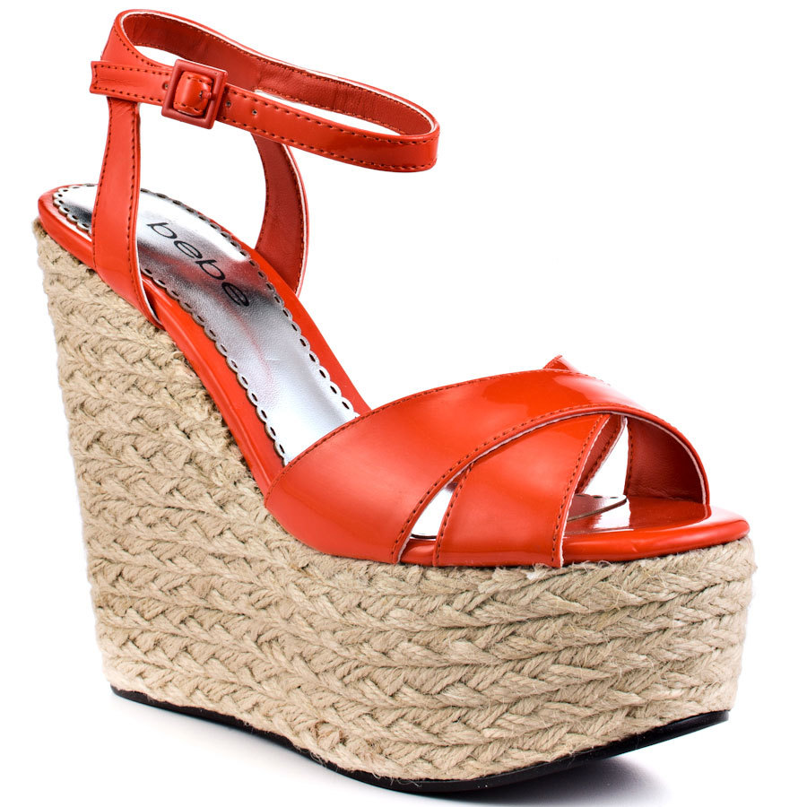 Red Wedges Rope Heel Platform Women Sandal Shoes Women Open Heel 2015 Sandal High Heel Soft Leather Open Toe Made-to-order
