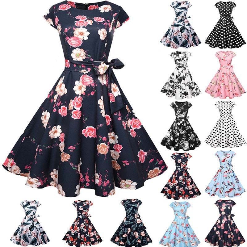 Estate Vintage Woman Dress 50 s 60 s Retro Style Rockabilly Pinup Casalinga Partito Altalena Tea CA251
