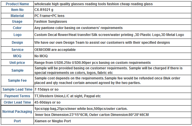Super light weight plastic reading glasses unique design spring hinge cheap reading glass