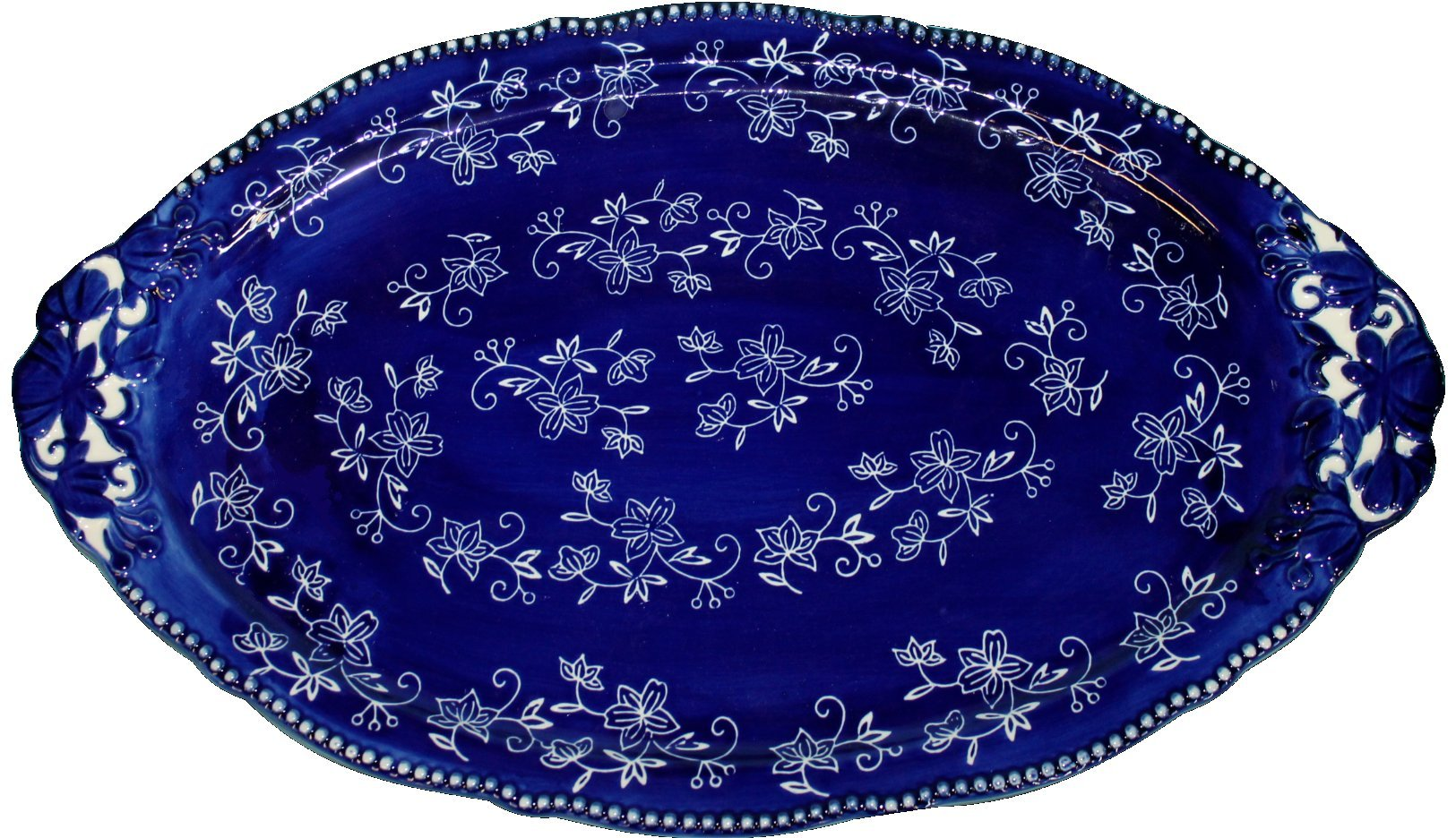 Temp-tations Elegant Platter Serving Tray 18.5 x 12 w//FREE Carving Set Floral Lace Blue