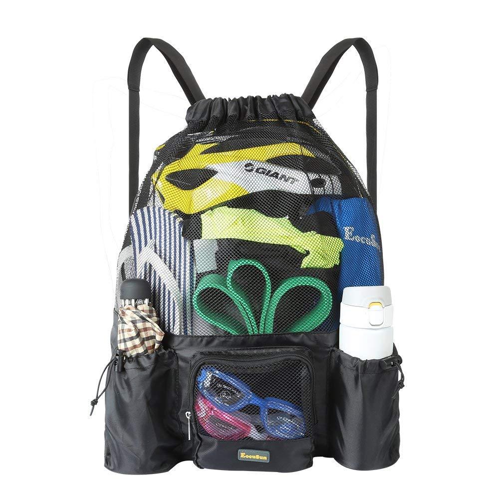 c2444d9b46 EocuSun Mesh Swimming Bag Drawstring Backpack Mesh Mummy Backpack Beach  Sports Gear Swim PE Gym Equipment