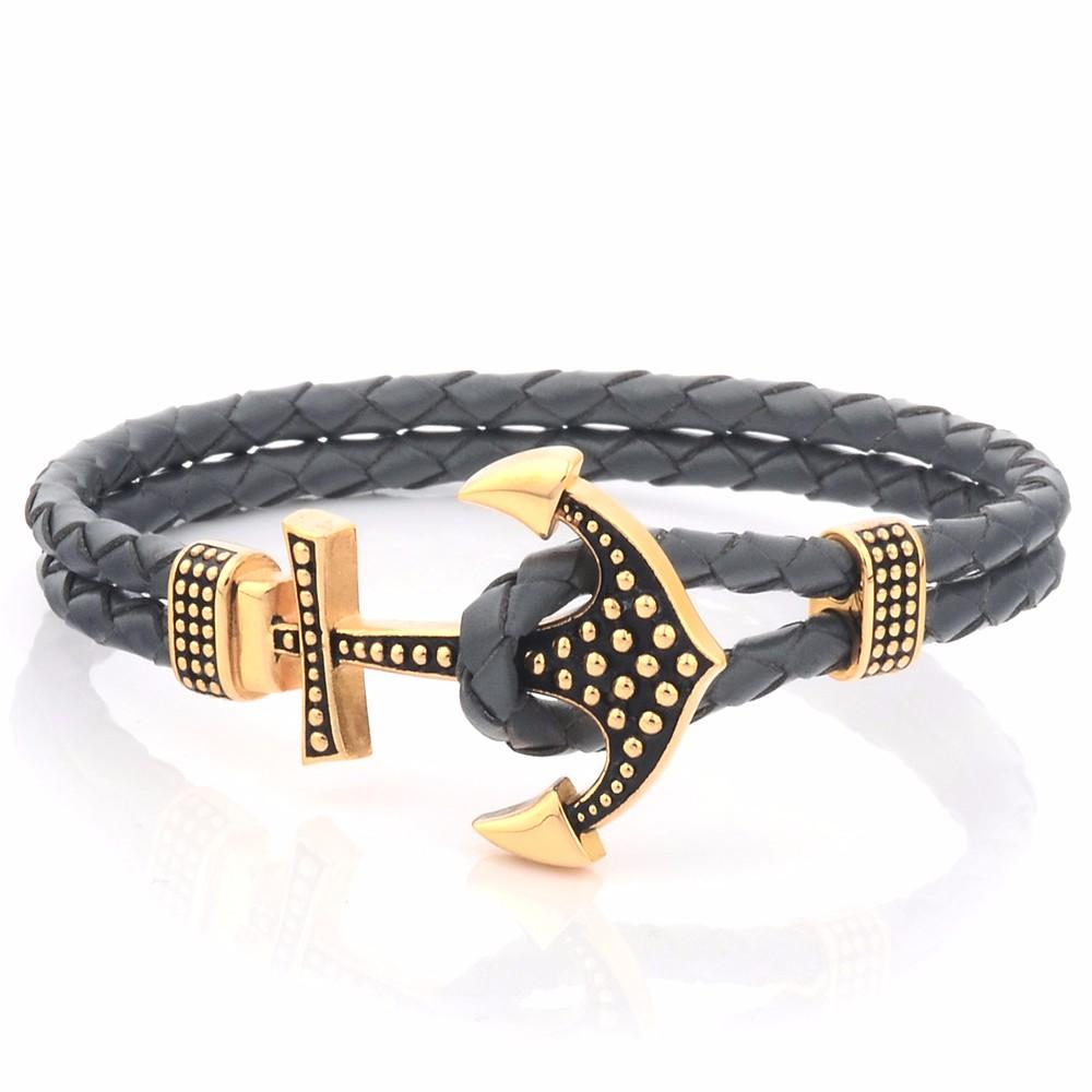 Custom Mens Genuine Braided Leather Hook Anchor Bracelet Buy Gelang Pria Anchorman