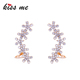 Crystal Flowers Sparkling Big Earrings Clip Full Ears 2017 New Product Christmas Gift
