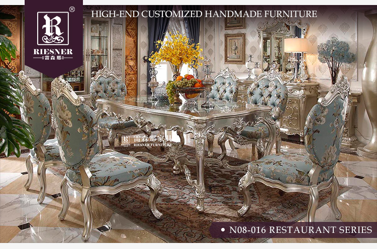 Elegant dining room furniture set with Wooden dining table and Hand carving dining chair sideboard