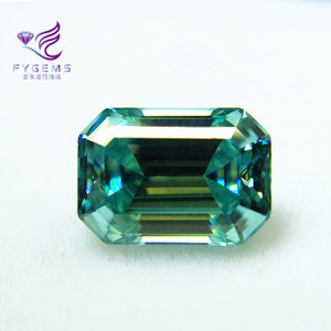 Pure Quality Blue Green Gemstone For Jewelry Classic Emerald Cut Shape Moissanite Loose Gemstone