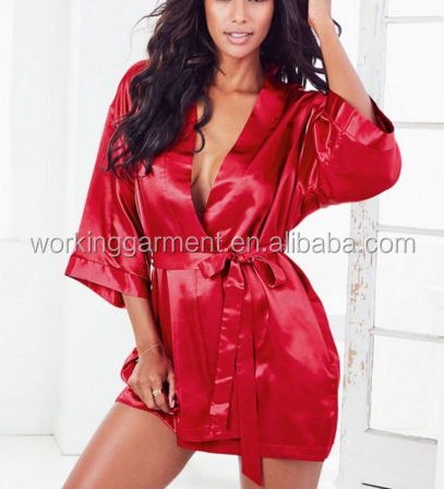8d5deb7ae881 Sexy Large Size Sexy Satin Night Robe Lace Bathrobe Perfect Wedding Bride  Bridesmaid Robes Dressing Gown For Women