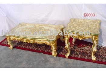 Gold Color Glass Top Coffee Table Square End Table Side Table Wooden