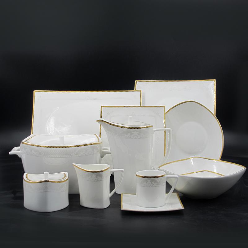 125 pcs 66 pcs elegante vierkante fijne bone china goud velg diner set