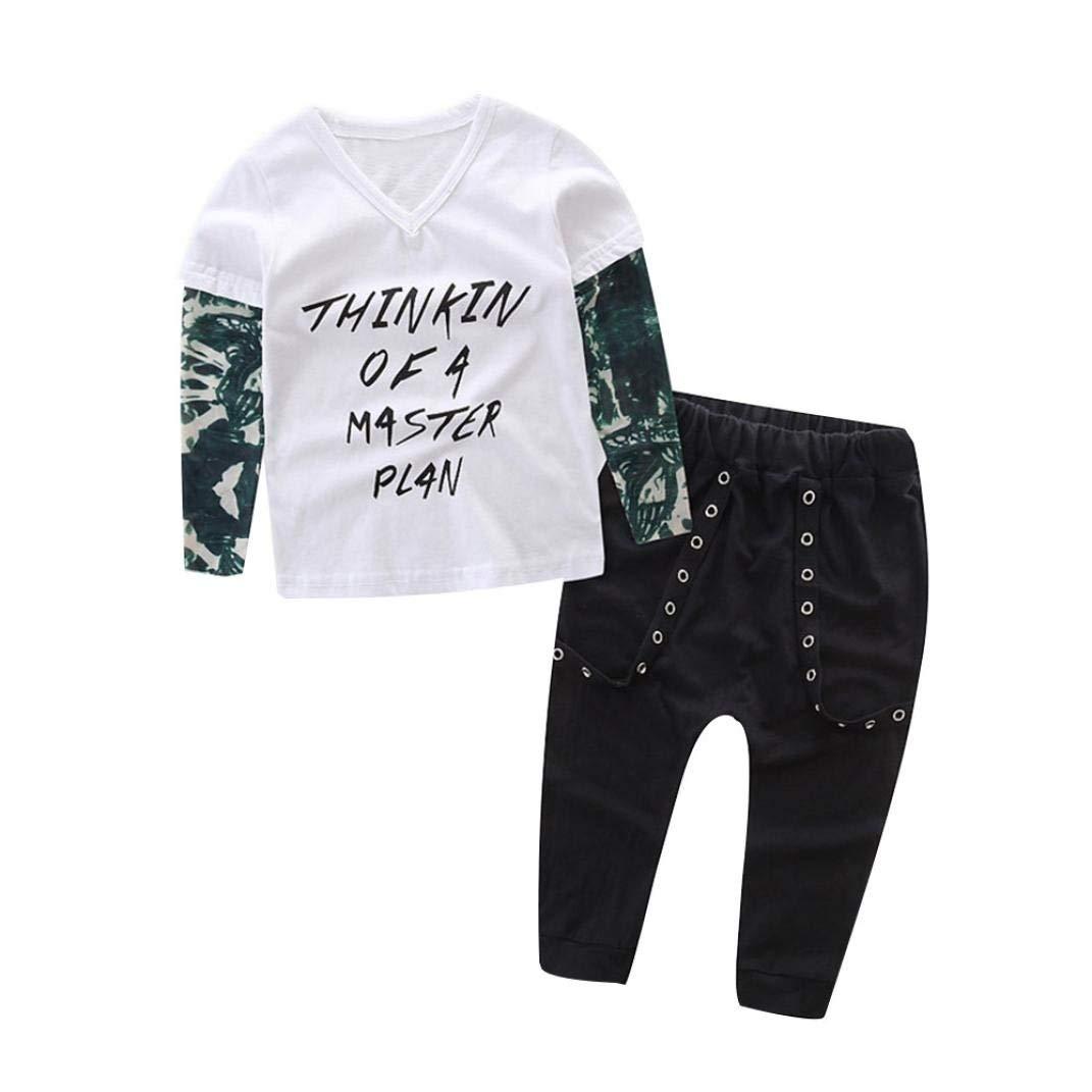 63e224d99 Get Quotations · Pollyhb Bady Boy Clothes Set, Newborn Infant Baby Boy  Letter Tattoo T Shirt Tops Pants