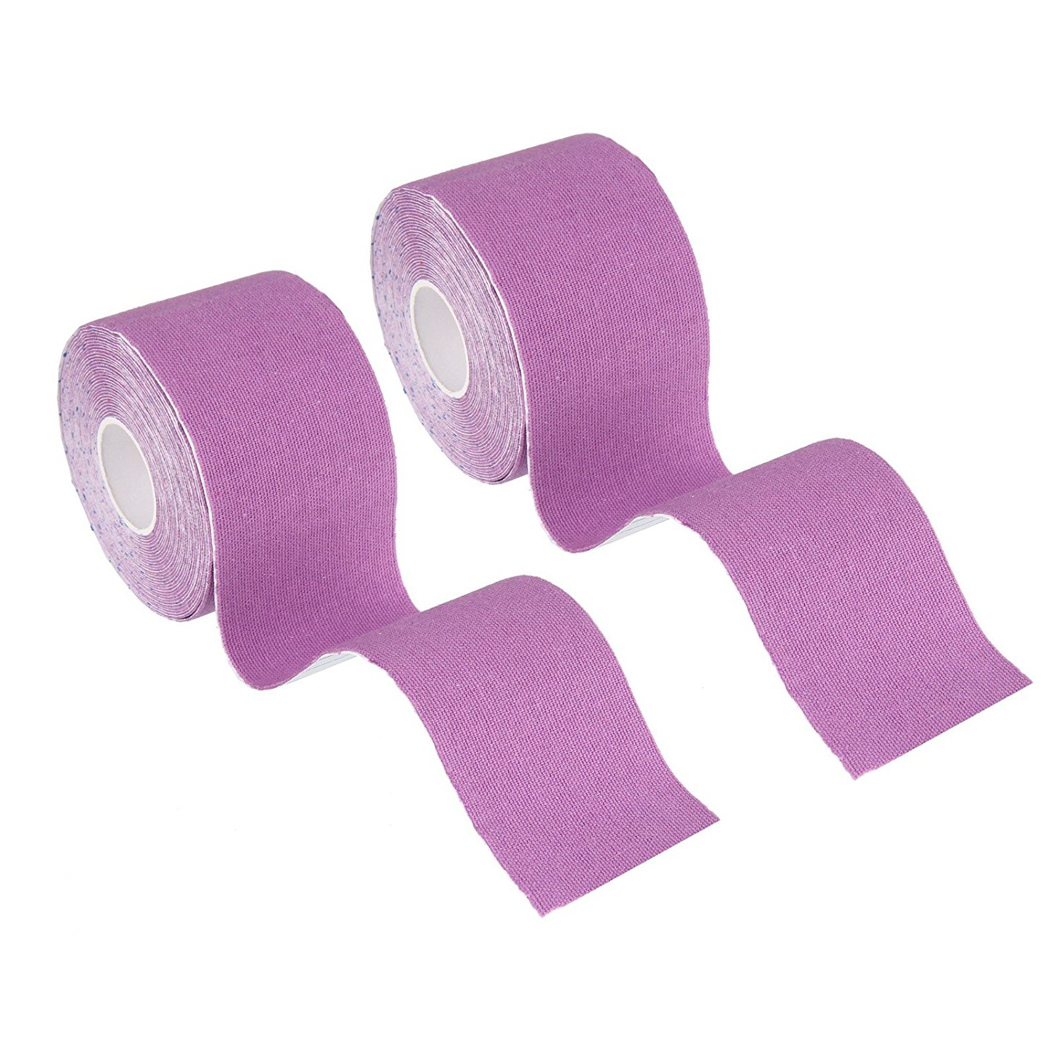 "Beauty7 Kinesiology Adhesive Tape 2 Rolls Uncut Cotton Elastic Breathable Waterproof Muscle Support for Athletic Sports Aid Recovery and Physio Therapy Knee Shoulder Elbow (Purple, 1""W x 16.4'L)"
