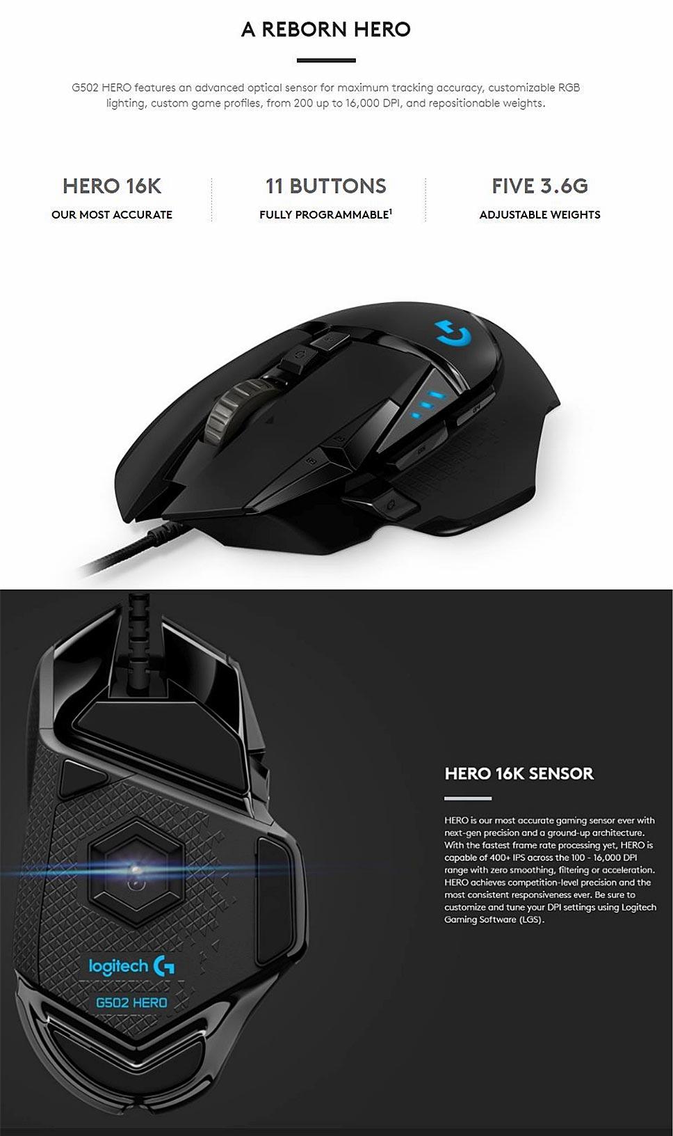 Logitech (G) G502 Hero Master Wired Game Mouse Full Line Upgrade