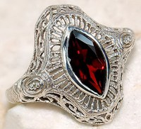 AFR157 ANTIQUE ART DECO 14K WHITE GOLD MARQUISE-CUT CZ FILIGREE RING USA SiZE 6/7/8/9#