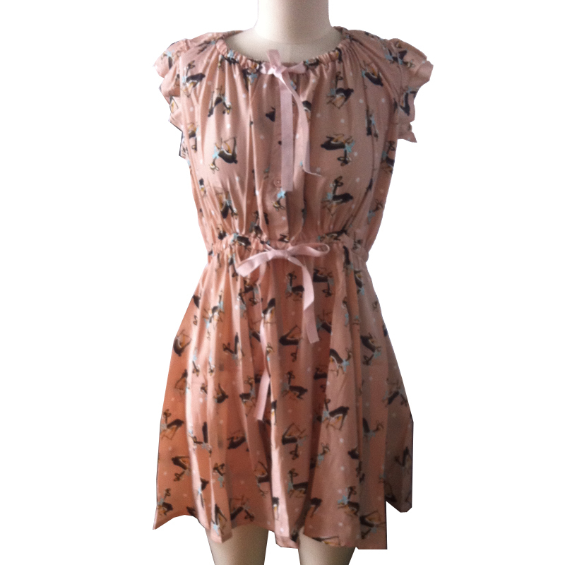 sale deer print skater dress chiffon casual short sleeve mini dresses bow sexy wear woman clothing summer style 2015 brand tunic