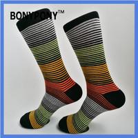 Bonypony amazon Ebay hotsale custom brand high quality Men's cotton stripe pattern colorful Casual Dress Sock