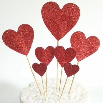 2019 Wholesale Romantic Seven Different Size Glitter Red Love Cupcake Topper for Wedding Cake Topper Kit