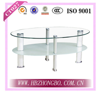 Oval Glass Top Tempered Glass End Table corner table