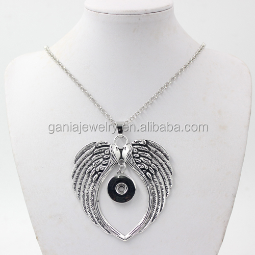 New Arrival Interchangeable Snap Jewelry Punk Style Angel Wings Pendants Snap Necklace for Women Fit DIY 18mm Button Jewelry
