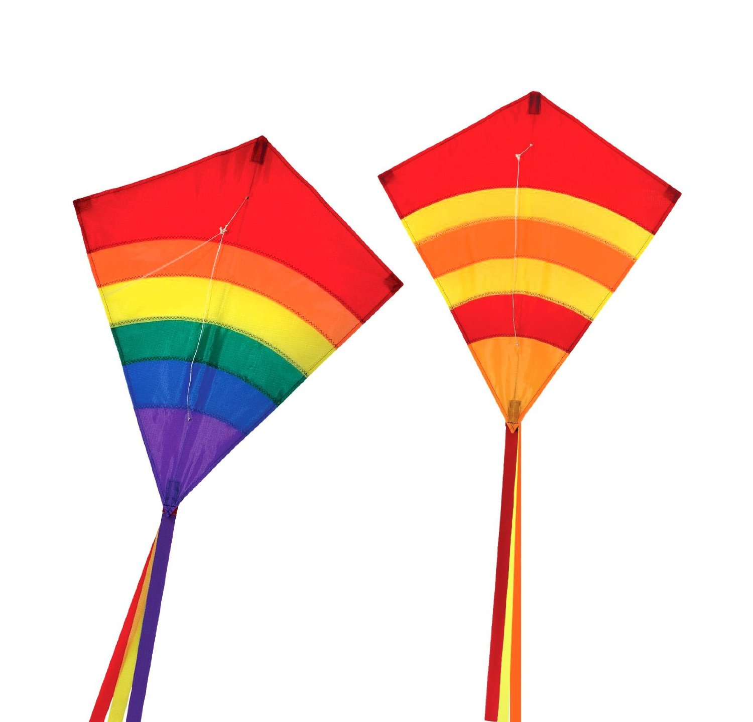Maven Gifts: In The Breeze 2-Pack Kite Bundle – 27-Inch Hot Arch Diamond Kite with 27-Inch Rainbow Arch Diamond Kite – Great for Beginners and Kids