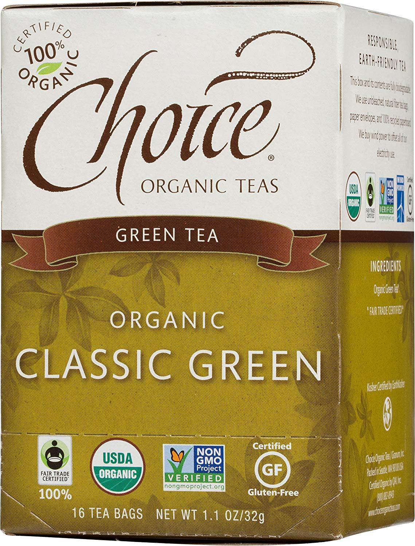 Choice Organic Teas Green Tea, Classic Green, 16 Count, Pack of 6