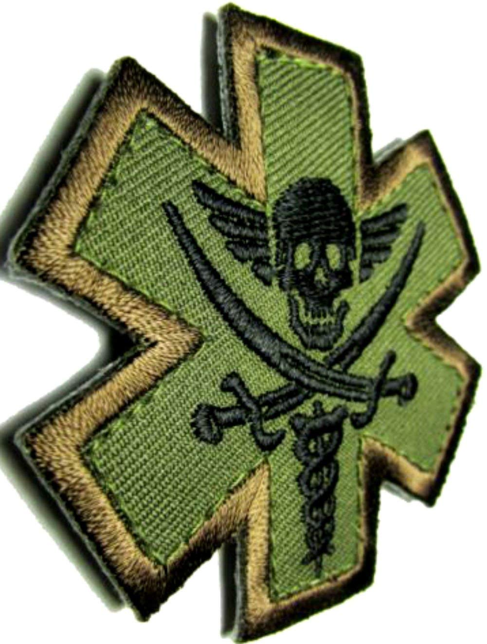 """[Single Count] Custom, Cool & Awesome {2.5"""" x 2.4"""" Inches} Small Military US Armed Forces Pirate Medic EMT Badge (Tactical Type) Velcro Patch """"Black, Green & Brown"""""""