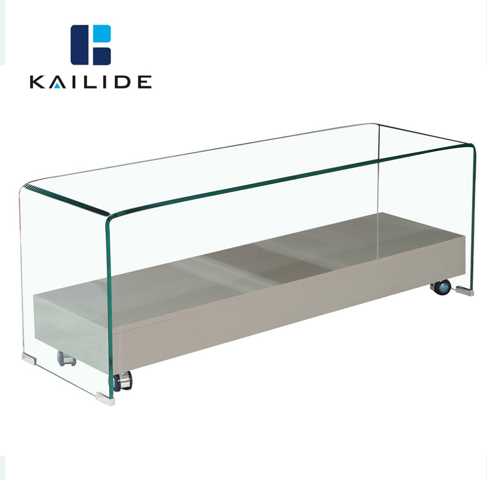 Modern furniture fashion tempered glass tv stand with wheels
