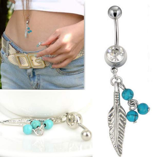 New Belly Bars Turquoise Bead Small Leaf Dangle Navel Body Piercing Belly Button Ring