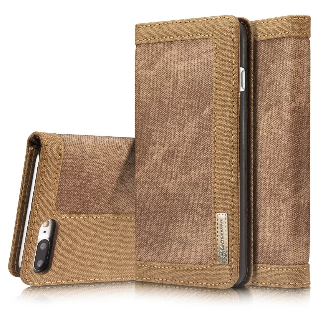 iphone 7 plus Case, iPhone 7 plus Flip Leather Wallet Case ,Hoosam Canvas Cowboy Leather Case [ID Card & Cash Slots] Magnetic Flip Stand Cover for iphone 7 plus (5.5 inch) (Brown)