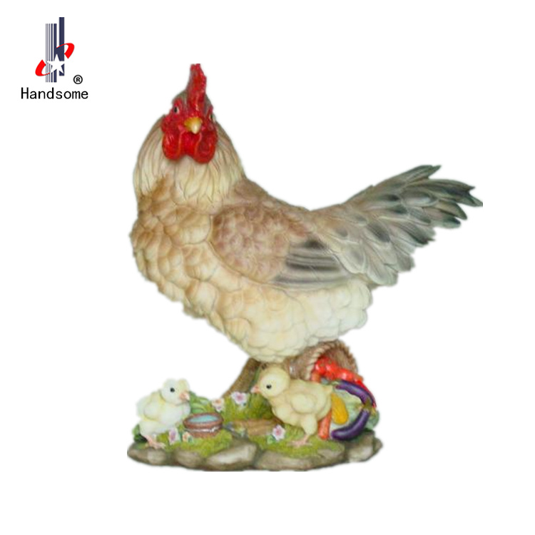 11 Inch Lively Resin Sculpture Polystone Hen Figurine