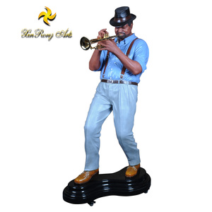 Decoration and gift large size standing musician jazz figurine with polyresin material