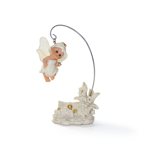 Cute white flower fairy angel garden statue