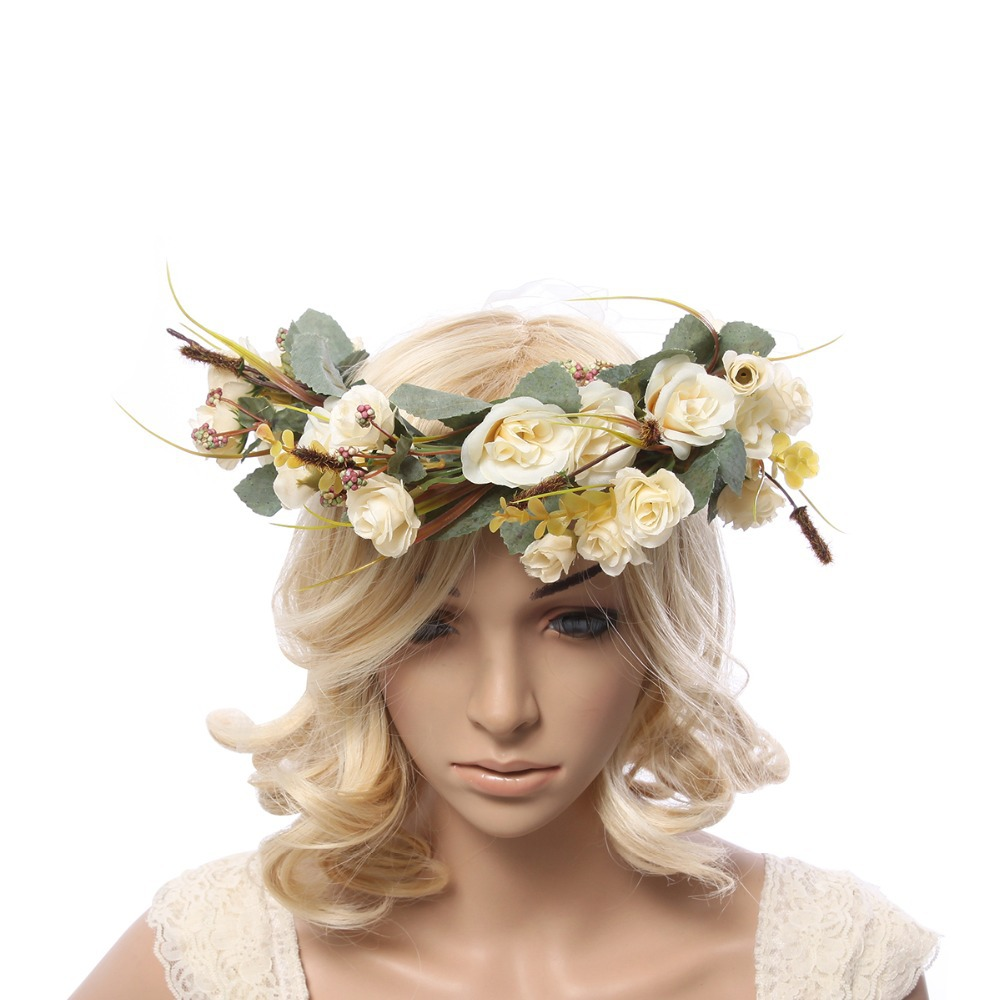Buy Women Handmade Rose Flower Wreath Crown Garland Halo For Wedding