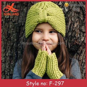 F 297 Neue Mode Winter Stricken Kinder Turban Mütze Und Handschuhe