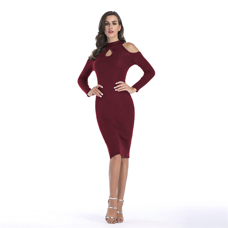 Customizable Design Solid Off Shoulder Office Pencil Slim Dress Long Sleeve Women Knit Midi Dress