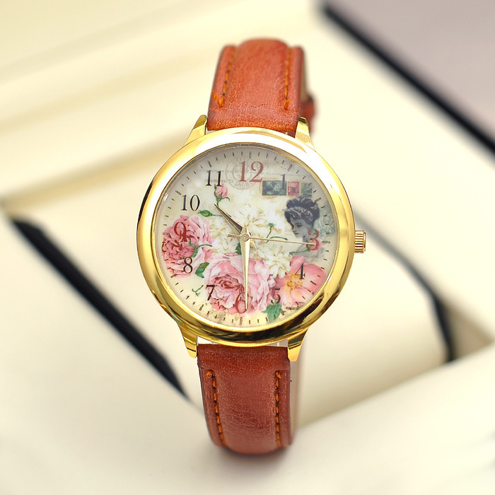 Europe and the United States sell hottest rural wind watch Rose flowers Fashion pu belt female wrist watch
