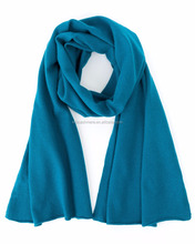 Women Teal Knitted Cashmere Scarf