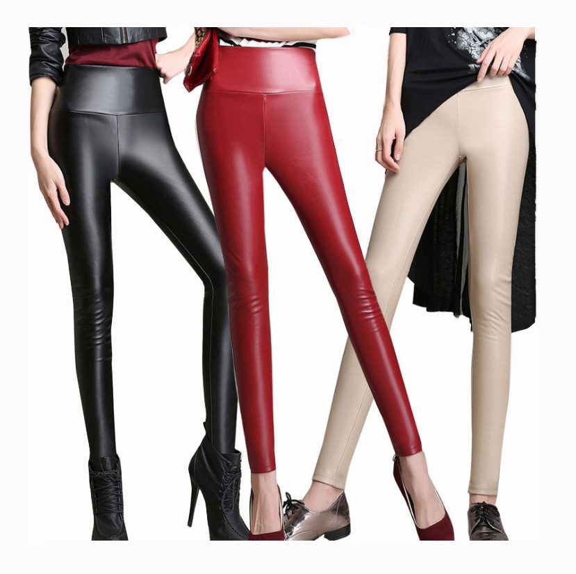 New Women Fashion PU Leather Legging Stretch Skinny Leggings tight black leather pants