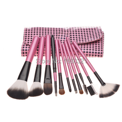11pcs/set Cosmetic Makeup Brushes set, Professional Facial Make up Brushes Set Kit, Beauty makeup Tools, With soft leather Bag