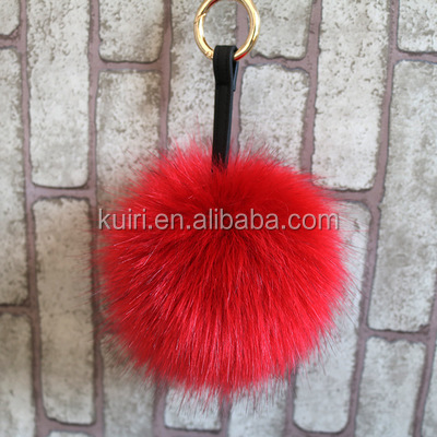 REX Faux Rabbit Fur Ball Car Sliver Keychain Handbag PomPom Charm Key Ring