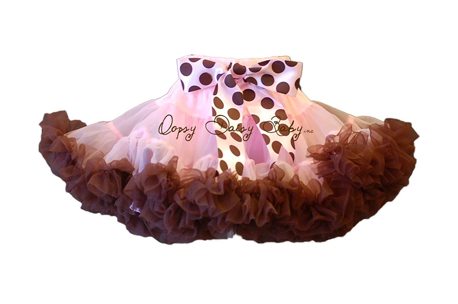 10f34c60f Get Quotations · Oopsy Daisy Baby Pink with Brown Ruffles Newborn  Pettiskirt (0-6 months)